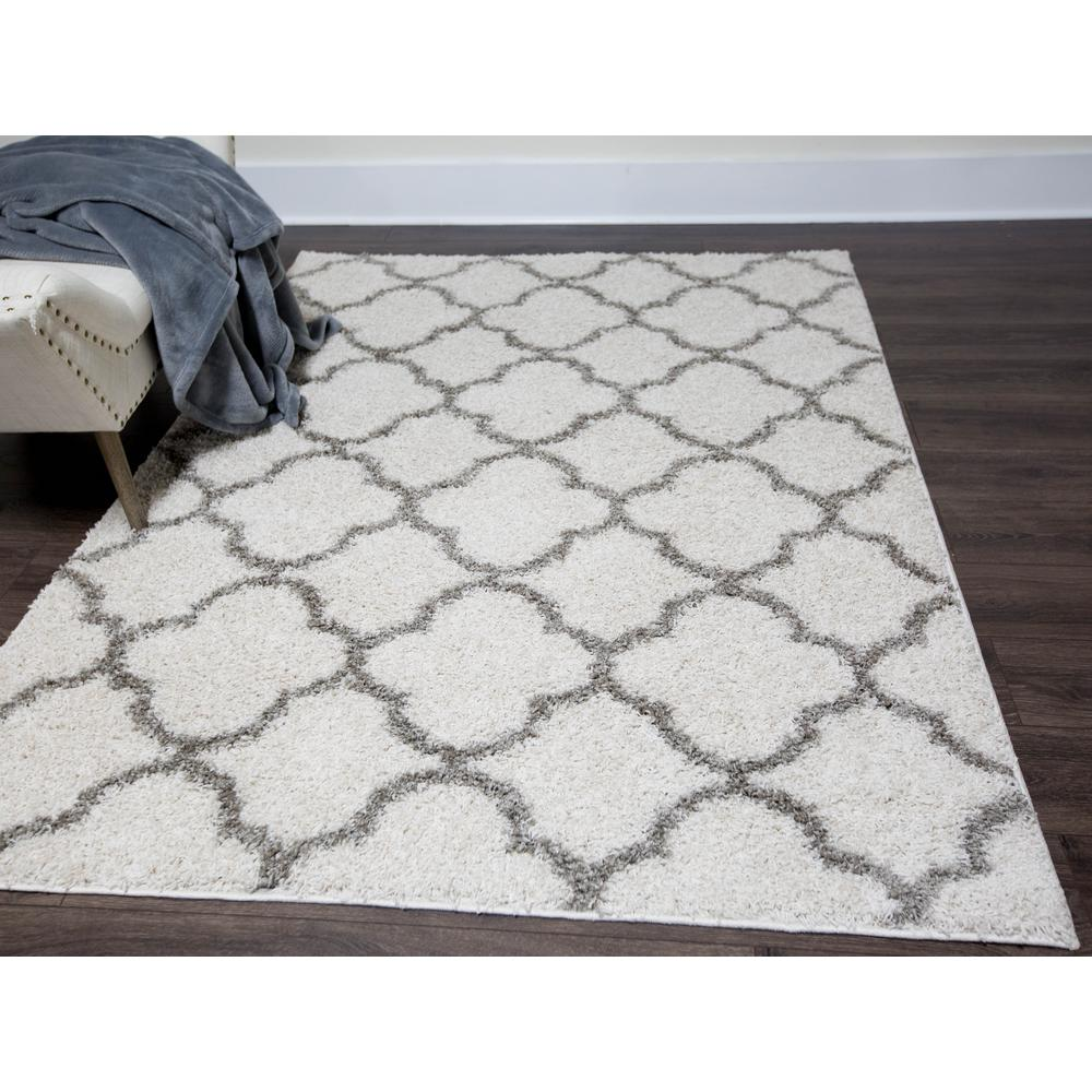 Nicole Miller Synergy White Gray 9 Ft X 12 Indoor Area Rug