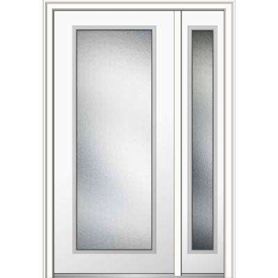 50 in. x 80 in. Micro Granite Right-Hand Full Lite Classic Painted Fiberglass Smooth Prehung Front Door with Sidelite