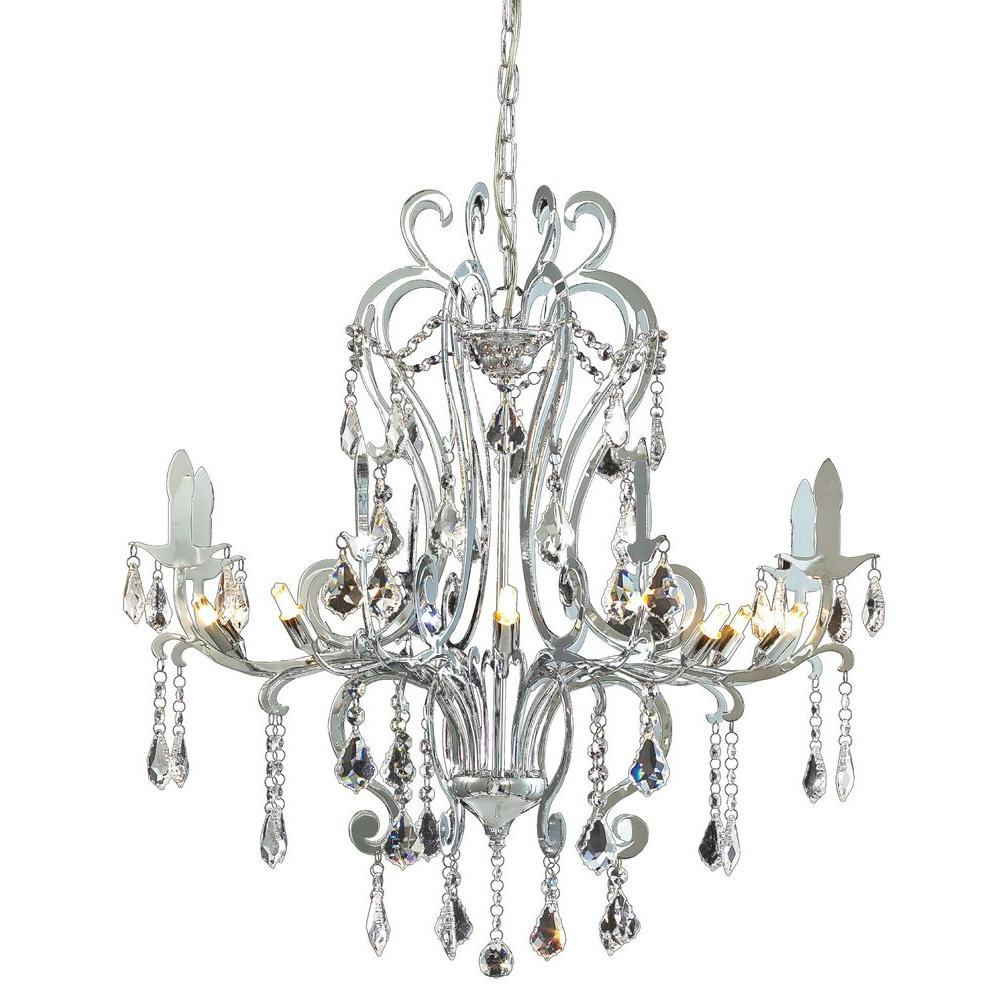 Tulen Lawrence 8 Light Ceiling Chrome Halogen Chandelier-DISCONTINUED