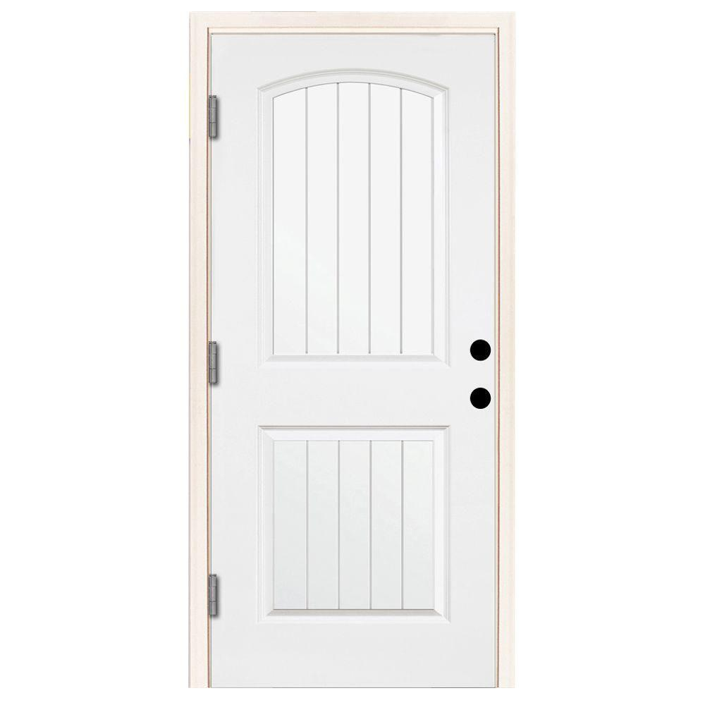 Steves & Sons 32 in. x 80 in. Premium 2-Panel Plank Primed White Steel Prehung Front Door w/ 32 in. Right-Hand Outswing and 4 in. Wall
