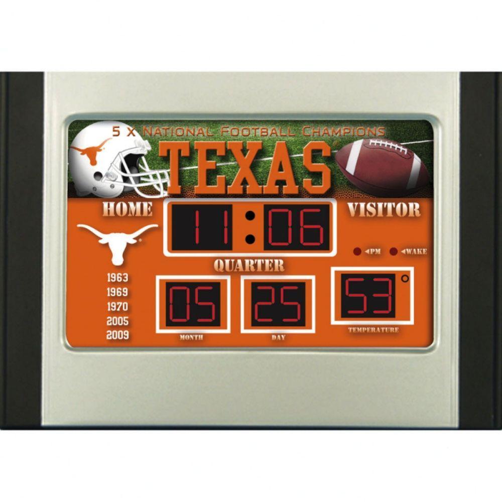 null University of Texas 6.5 in. x 9 in. Scoreboard Alarm Clock with Temperature