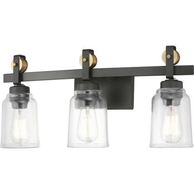 Knollwood 3-Light Antique Bronze Vanity Light with Vintage Brass Accents and Clear Glass Shades