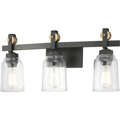 Knollwood 7 in. 3-Light Antique Bronze Vanity Light with Vintage Brass Accents and Clear Glass Shades