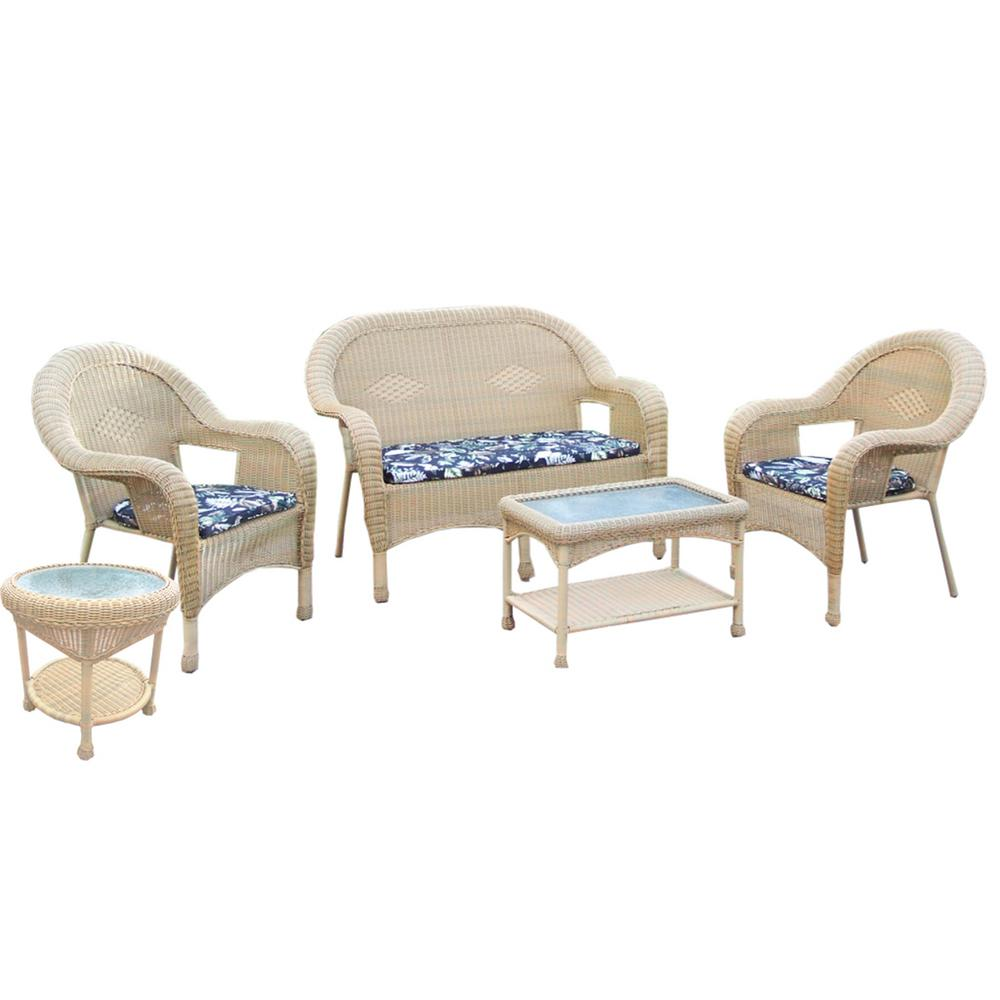 Honey 5-Piece Wicker Patio Seating Set with Off-White Cushions