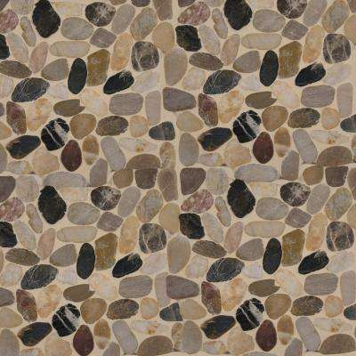 Mix River Rock 12 in. x 12 in. x 10 mm Tumbled Marble Mesh-Mounted Mosaic Tile (10 sq. ft. / case)