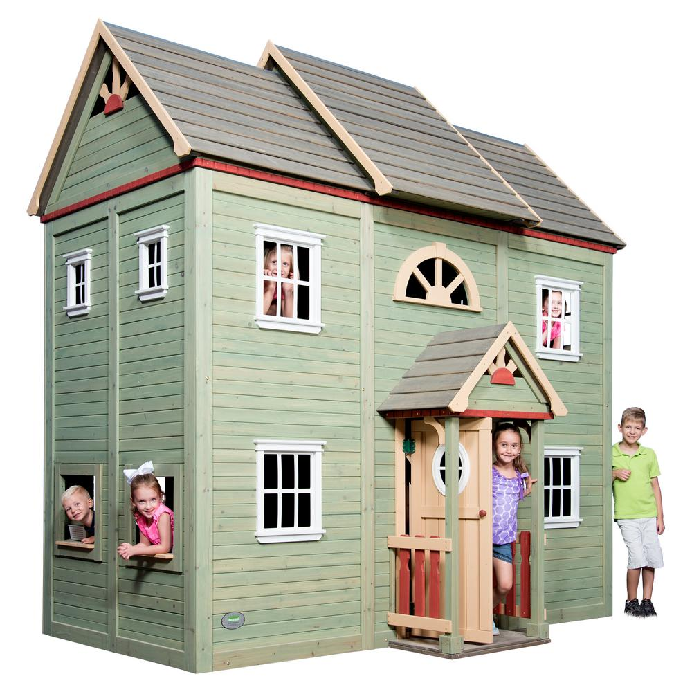 Backyard Discovery Victorian Mansion 2-Story Wooden Playhouse with Covered Porch