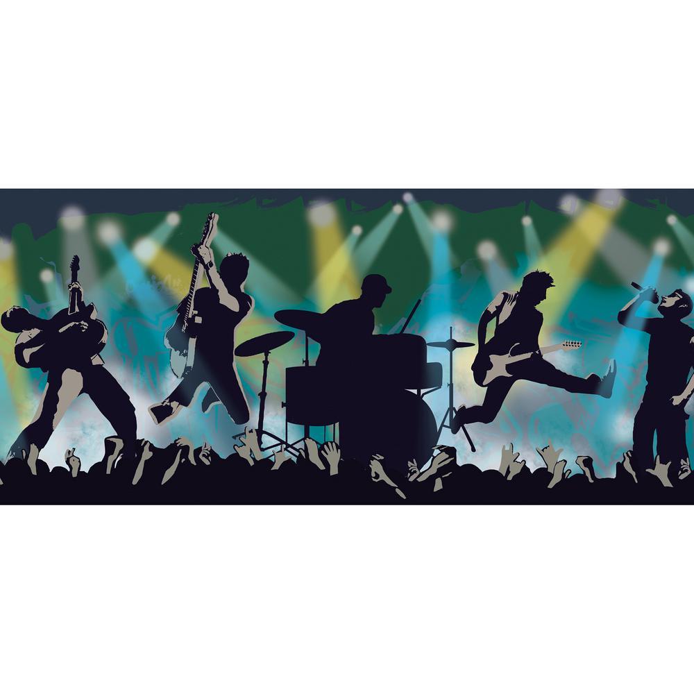 Jagger Blue Rock Show Silhouette Wallpaper Border Sample