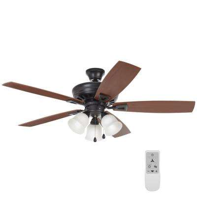 Gazelle 52 in. Indoor Natural Iron LED Smart Ceiling Fan with Light and Remote Works with Google Assistant and Alexa