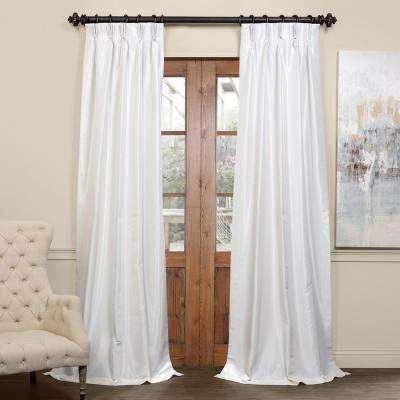 Off White Blackout Vintage Textured Faux Dupioni Pleated Curtain - 25 in. W x 108 in. L