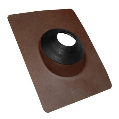 No-Calk 12 in. x 15-1/2 in. Aluminum Brown Vent Pipe Roof Flashing with 3 in. - 4 in. Adjustable Diameter