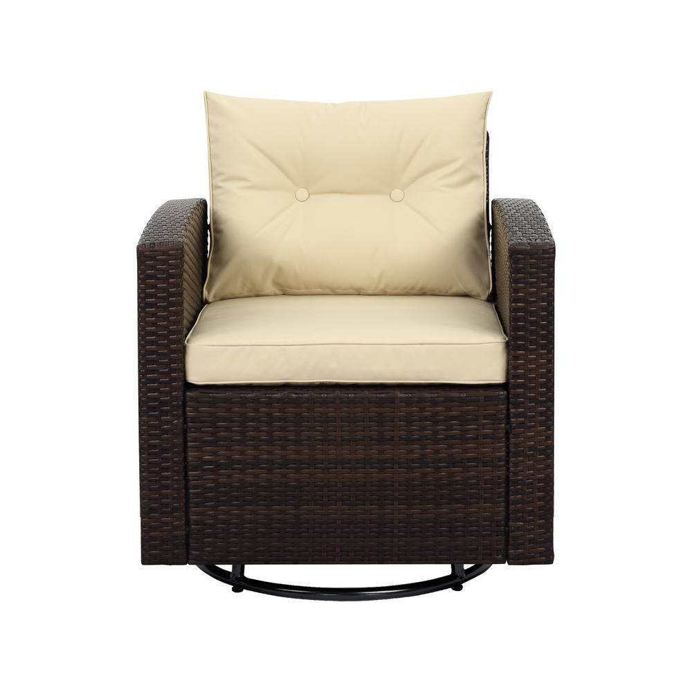Fabulous Sdente Posie Dark Brown Swivel Wicker Outdoor Lounge Chair With Beige Cushions Bralicious Painted Fabric Chair Ideas Braliciousco