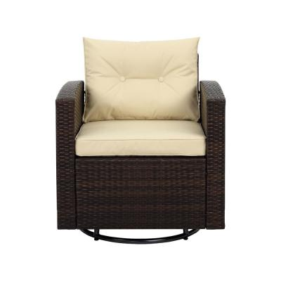 Posie Dark Brown Swivel Wicker Outdoor Lounge Chair with Beige Cushions