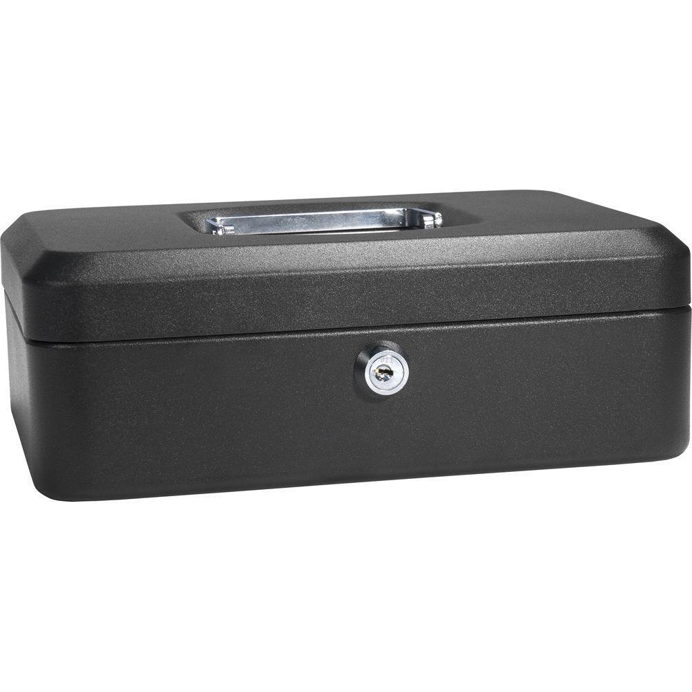 Steel Cash Box Safe With Key Lock Black