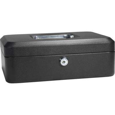 0.07 cu. ft. Steel Cash Box Safe with Key Lock, Black