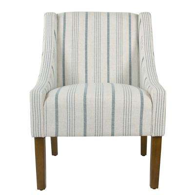 Striped Blue Calypso Poly-Linen Modern Swoop Accent Chair