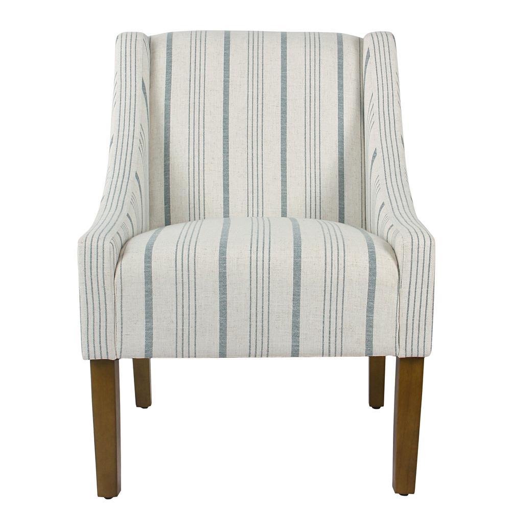 Homepop Striped Blue Calypso Poly-Linen Modern Swoop Accent Chair
