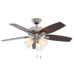 Hunter Atkinson 46 inch Indoor Brushed Nickel Ceiling Fan with Light Kit by Hunter