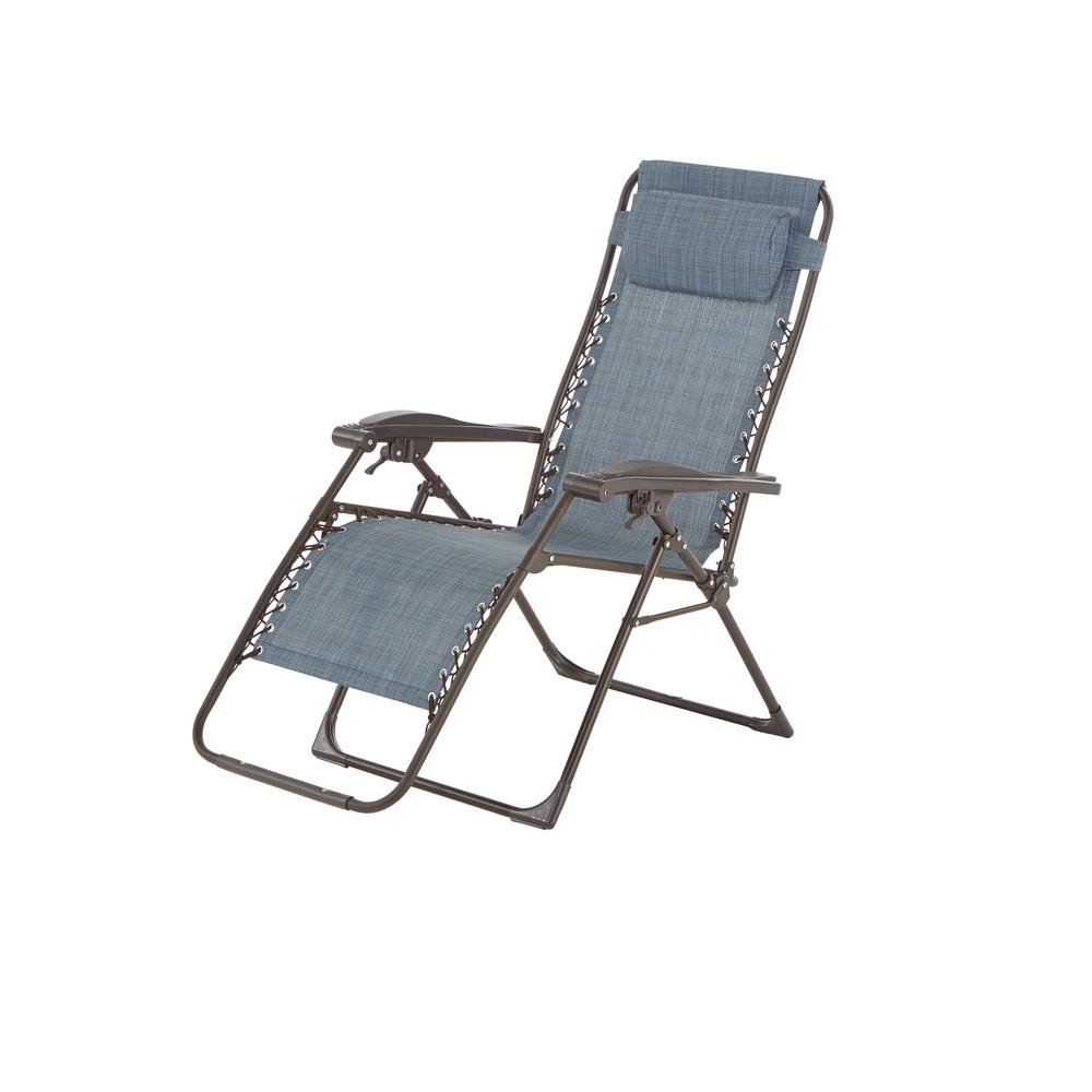 Hampton Bay Mix And Match Zero Gravity Sling Outdoor Chaise Lounge Chair In  Denim