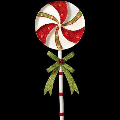 h battery operated lighted metal holiday pinwheel lollipop yard stake - Christmas Stake Lights