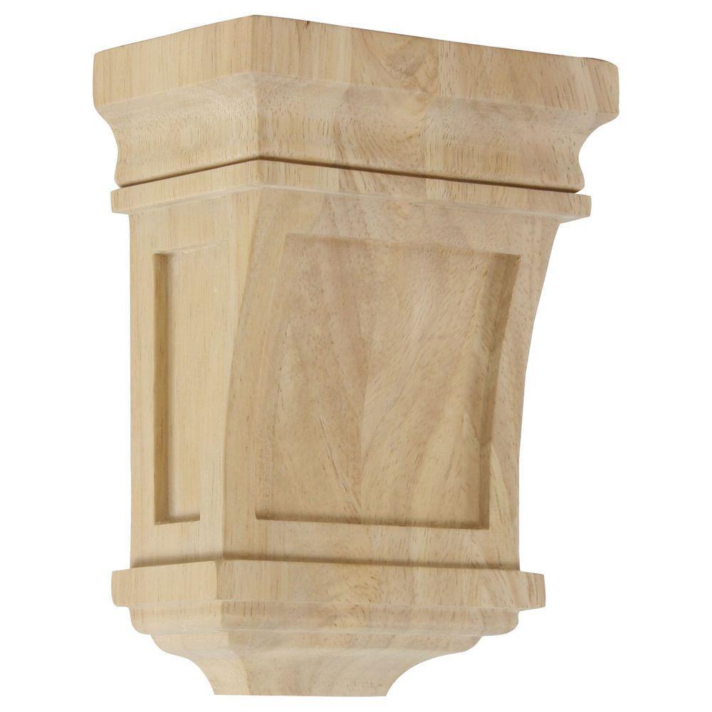 3 in. x 5 in. x 7 in. Unfinished Wood Rubberwood Santa Fe Corbel
