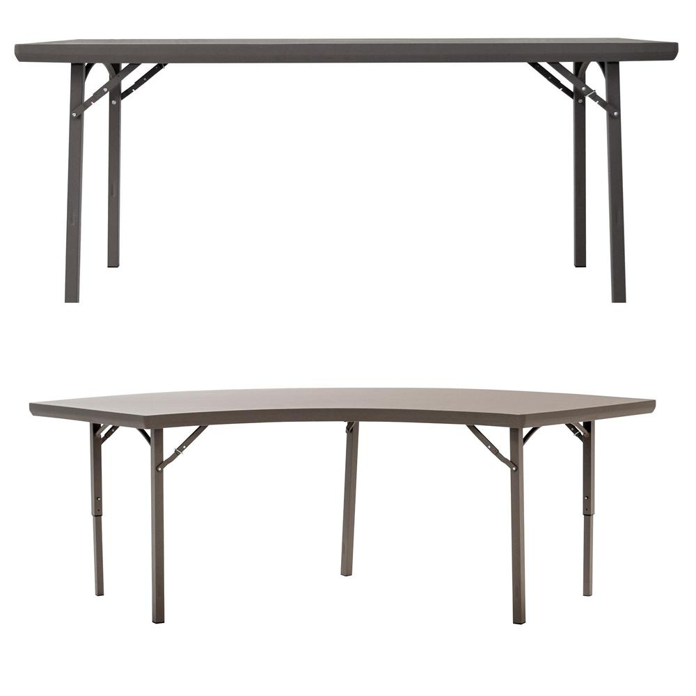 Cosco 72 in. Brown Plastic Folding Banquet Tables (Set of 4)