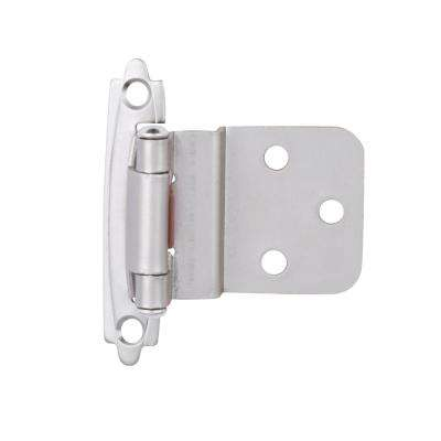 Satin Nickel Self-Closing 3/8 in. Inset Cabinet Hinge (1-Pair)