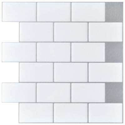 Fantastic 12 In X 12 In Peel And Stick Vinyl Subway Backsplash Tile In White 10 Pack Home Interior And Landscaping Pimpapssignezvosmurscom