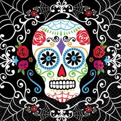 6.5 in. x 6.5 in. Day of the Dead Luncheon Napkins (36-Count, 3-Pack)