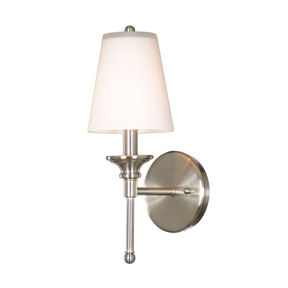 Hampton Bay Sadie 1 Light Satin Nickel Wall Sconce With Opal White Glass Shade 19574 011