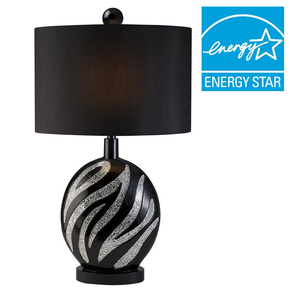 Ore international 31 in zebra table lamp with black lamp shade k zebra table lamp with black lamp shade k 4243t the home depot audiocablefo