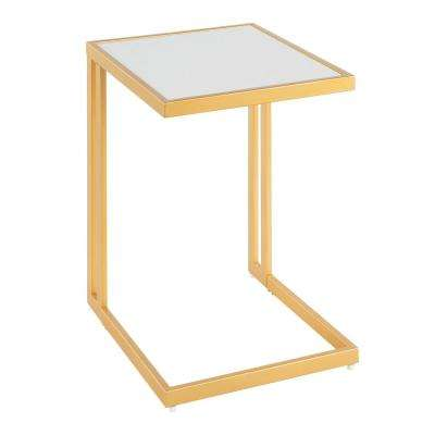 Roman Side Table with White Marble Top and Gold Finish
