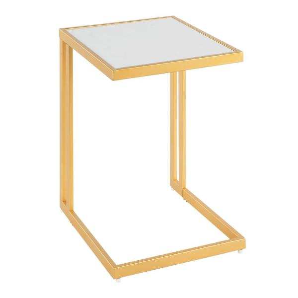 Lumisource Roman Side Table with White Marble Top and Gold Finish