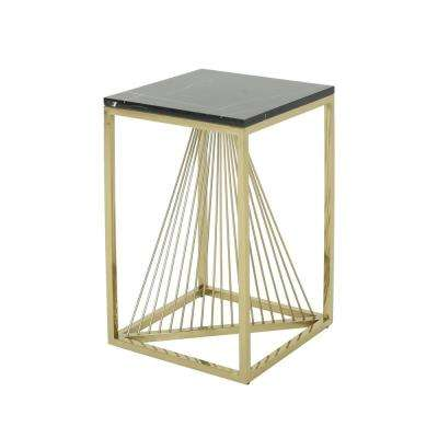 Arvid Modern Black Faux Marble Accent Table with Champagne Gold Steel Frame