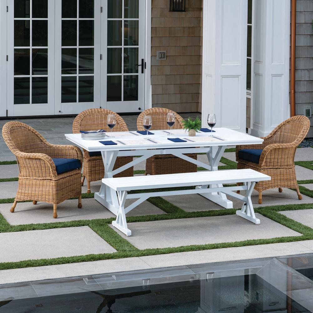 Royal Garden St. Martin White and Aluminum 6-Piece Wicker Outdoor Dining Set with Blue Cushions