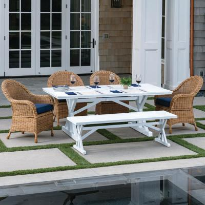 St. Martin White and Aluminum 6-Piece Wicker Outdoor Dining Set with Blue Cushions