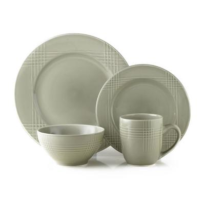 16-Piece Poplin Silver Stoneware Dinnerware Set (Service for 4)