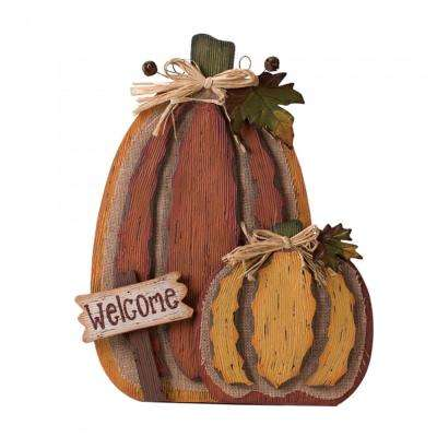 18.91 in. H Burlap Wooden Pumpkin Decor