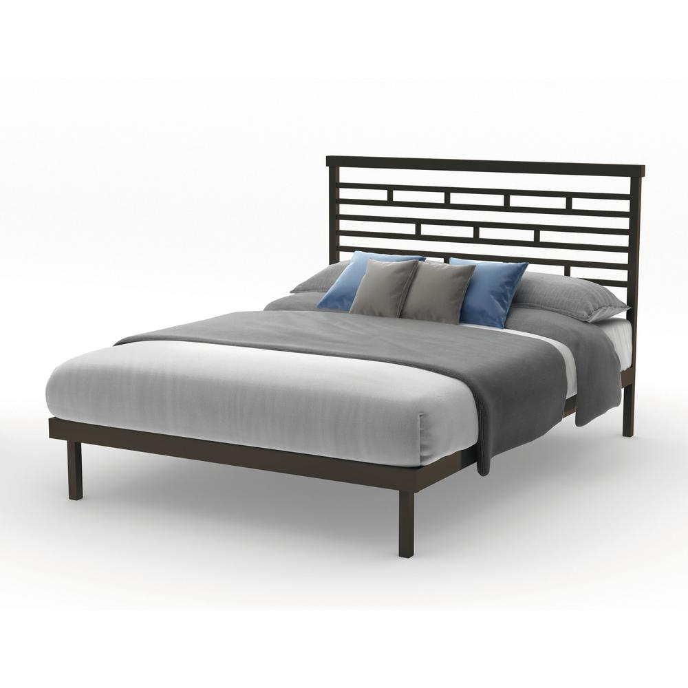 new product f2d0e c6f13 Highway Brown Metal Queen Size Platform Bed