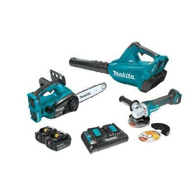 18-Volt X2 (36V) LXT Lithium-Ion Cordless 2-Piece Combo Kit (Blower/ Chain Saw) 5.0Ah and Brushless Angle Grinder