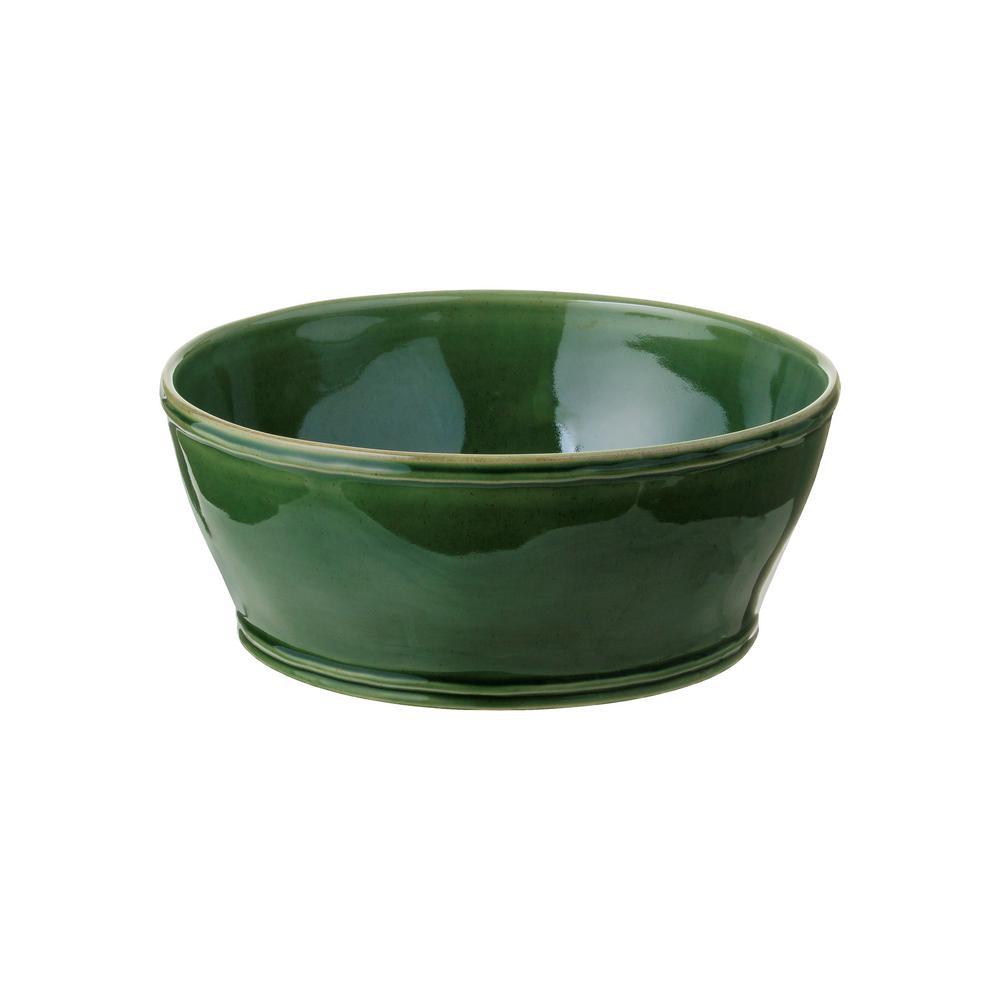 Fontana 9.5 in. 98 fl. oz. Forest Green Ceramic Stoneware Serving Bowl