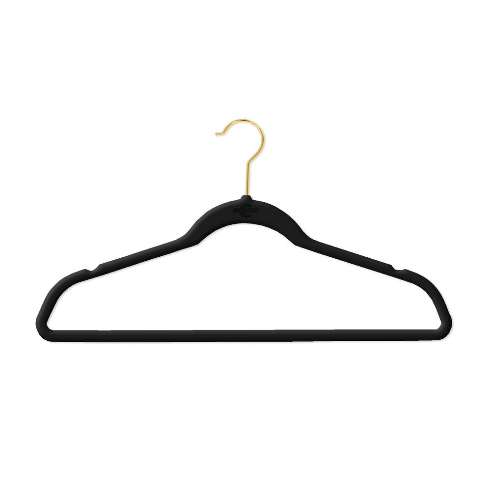 Bon Closet Complete Black Velvet Flocked Suit Hanger With Gold Hooks (50 Pack)