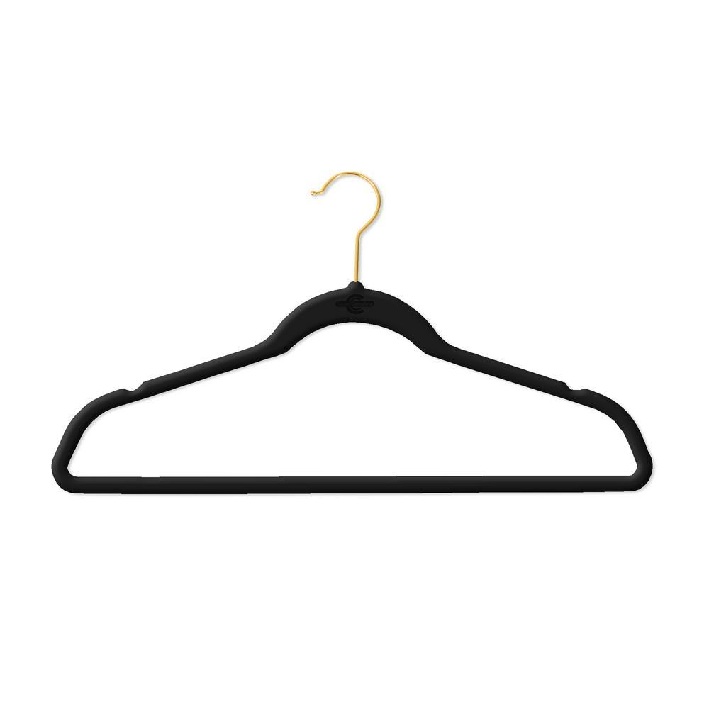 Black Velvet Flocked Suit Hanger with Gold Hooks (50-Pack)