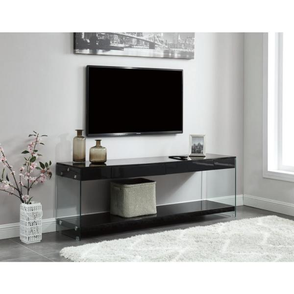 Furniture Of America Jubilee 70 In Black Glass Tv Stand With 2 Drawer Fits Tvs Up To 78 In With Cable Management Idf 5206bk Tv70 The Home Depot
