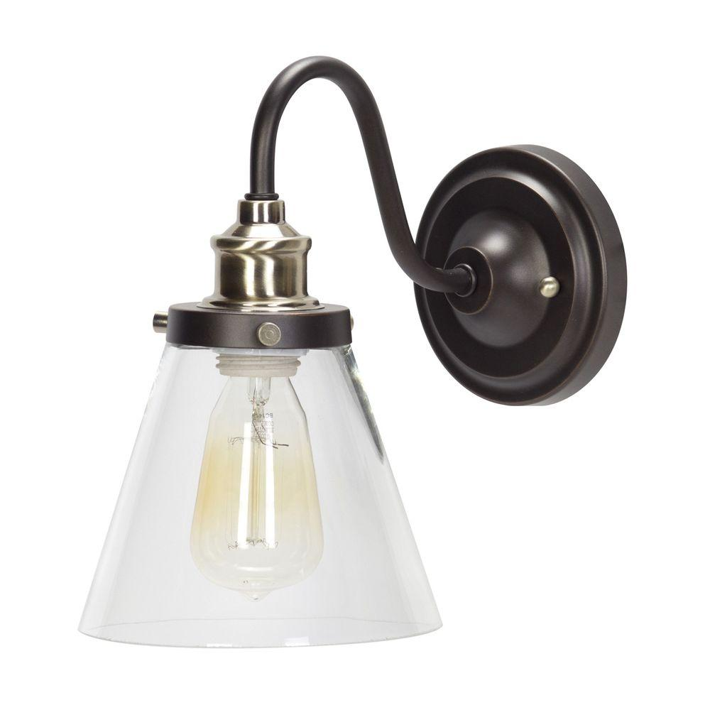 Brass Wall Sconces Electric : Globe Electric Jackson 1-Light Oil Rubbed Bronze and Antique Brass Wall Sconce Light-64932 - The ...