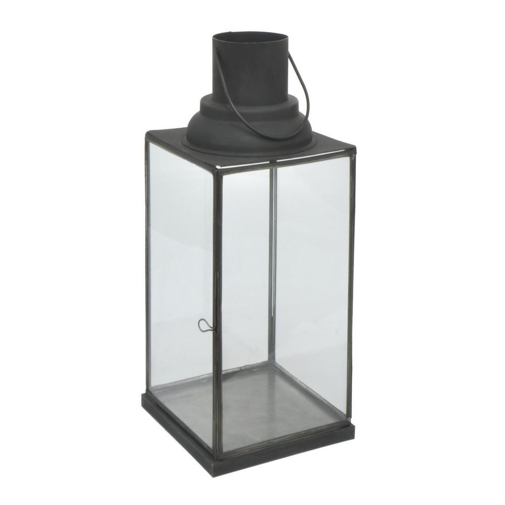 Black Metal/Glass Lantern
