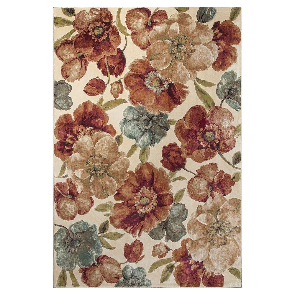 Kas Rugs Cherish the Flower Ivory/Brown 5 ft. 3 in. x 7 ft. 7 in. Area Rug