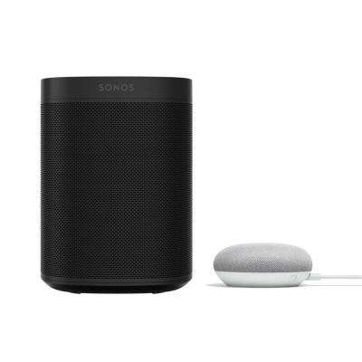 Sonos One (Gen2) Black Smart Speaker with Google Home Mini in Chalk