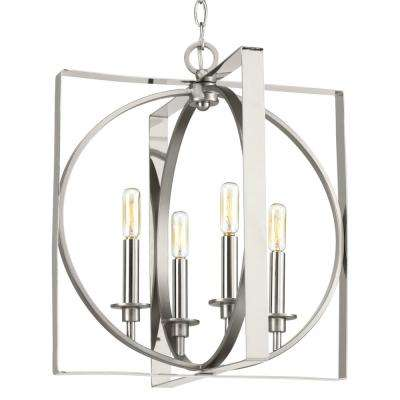 Inman Collection 4-Light Polished Nickel Pendant with Satin Nickel Accents