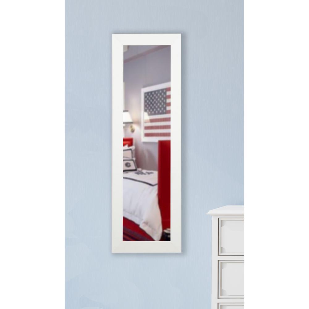 Large Satin White Wood Modern Mirror (60 in. H X 21 in. W)