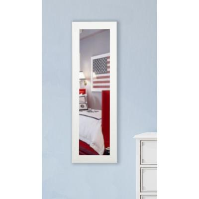 Large Satin White Wood Modern Mirror (60 in. H X 21 in. W)